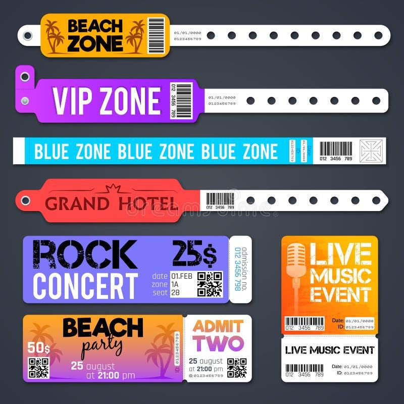 I braccialetti e lo stadio di vettore dell'entrata di evento suddividono in zone i modelli dei biglietti di ingresso isolati royalty illustrazione gratis