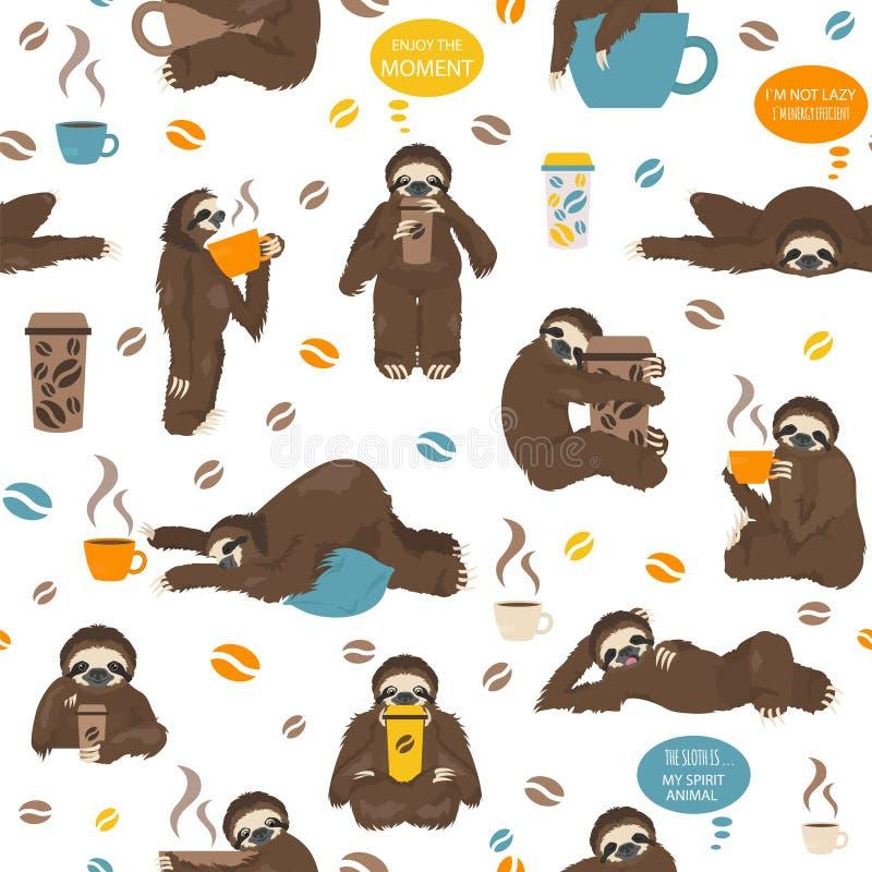 I bradipi bevono il modello senza cuciture del caffè Animali divertenti del fumetto nelle posizioni differenti fissate royalty illustrazione gratis