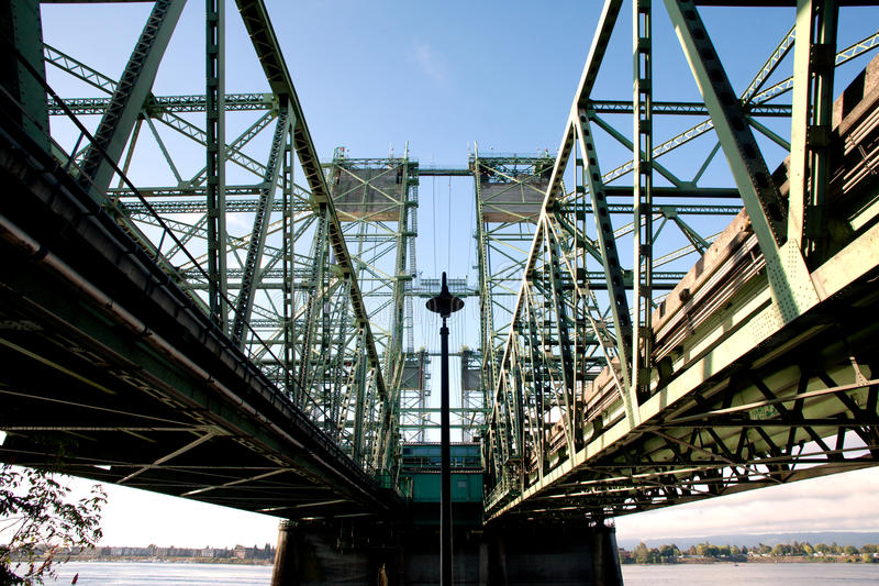 I5 bridge over columbia river. I5 interstate bridge over Columbia river-Vancouver, Washington and Portland Oregon royalty free stock photo