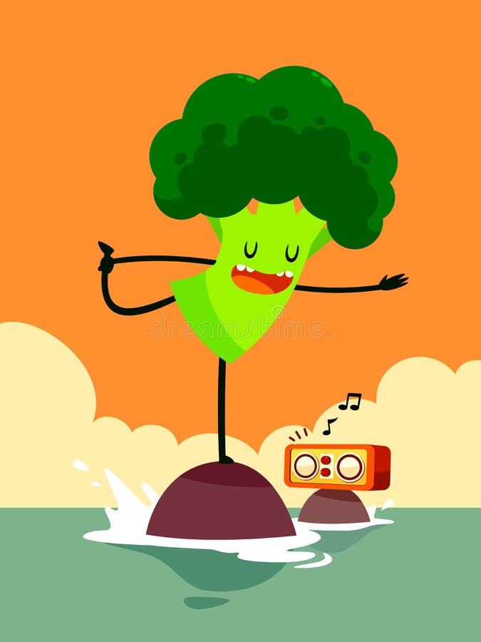 I broccoli fanno l'yoga royalty illustrazione gratis