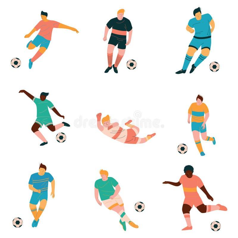 I calciatori hanno messo, calciatore maschio Characters nel gioco uniforme di sport nell'illustrazione differente di vettore di p illustrazione di stock