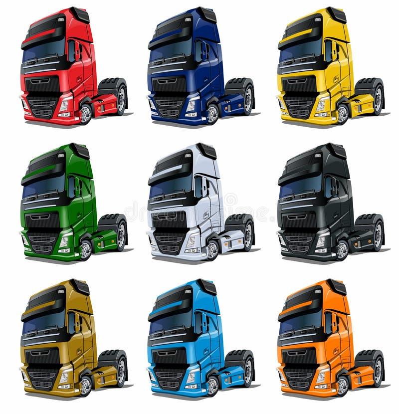 I camion dei semi del fumetto hanno messo isolato su bianco illustrazione di stock
