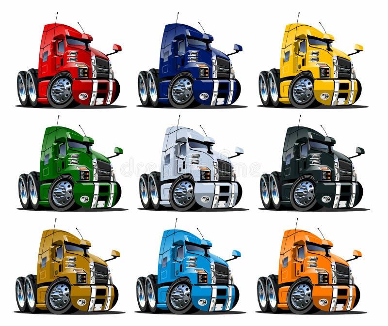 I camion dei semi del fumetto hanno messo isolato su bianco illustrazione vettoriale