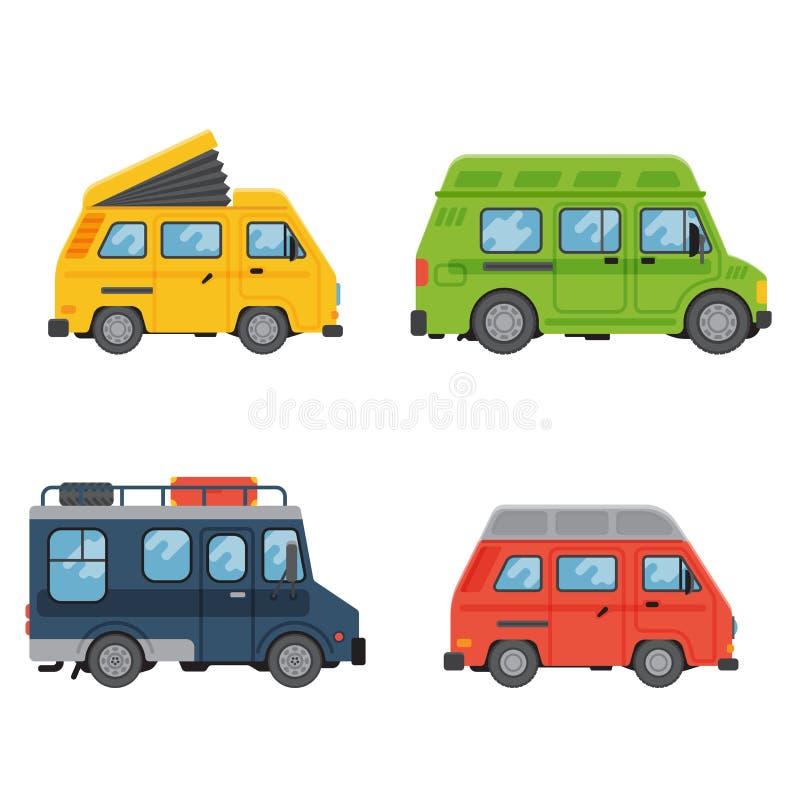 I campeggiatori vacation il trasporto piano dell'illustrazione di vettore della casa del rimorchio di festa della natura dell'est illustrazione vettoriale