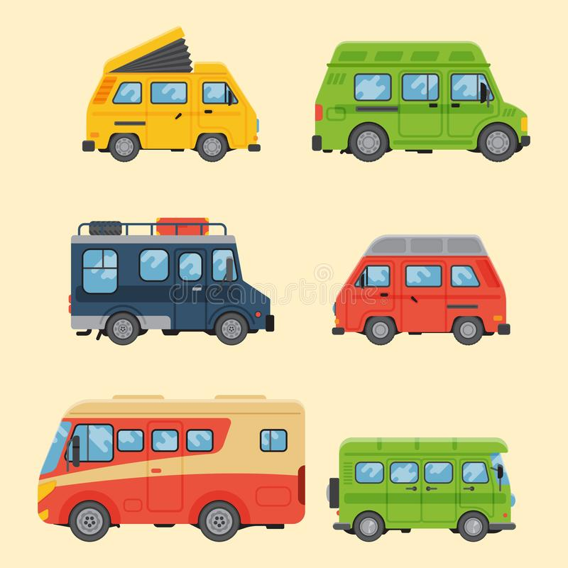 I campeggiatori vacation il trasporto piano dell'illustrazione di vettore della casa del rimorchio di festa della natura dell'est illustrazione di stock