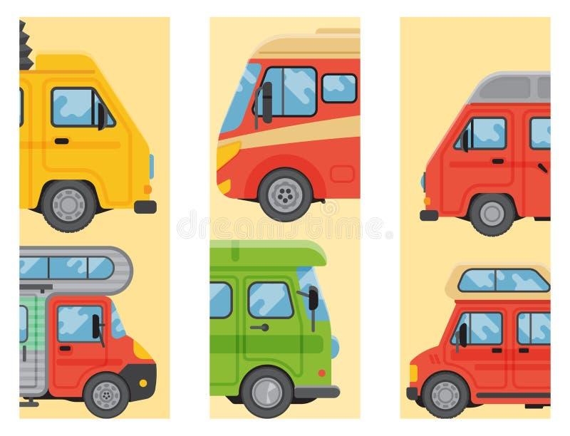 I campeggiatori vacation il trasporto piano dell'illustrazione di vettore delle carte della casa del rimorchio di festa della nat illustrazione vettoriale