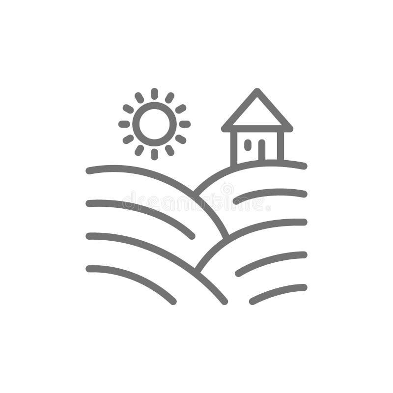 I campi della vigna con l'uva allineano l'icona illustrazione di stock