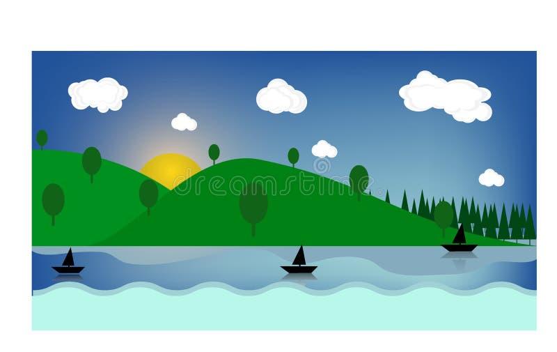 I campi luminosi dell'estate soleggiata variopinta, colline abbelliscono, erba verde, chiaro cielo blu con le nuvole e sole, illu illustrazione di stock