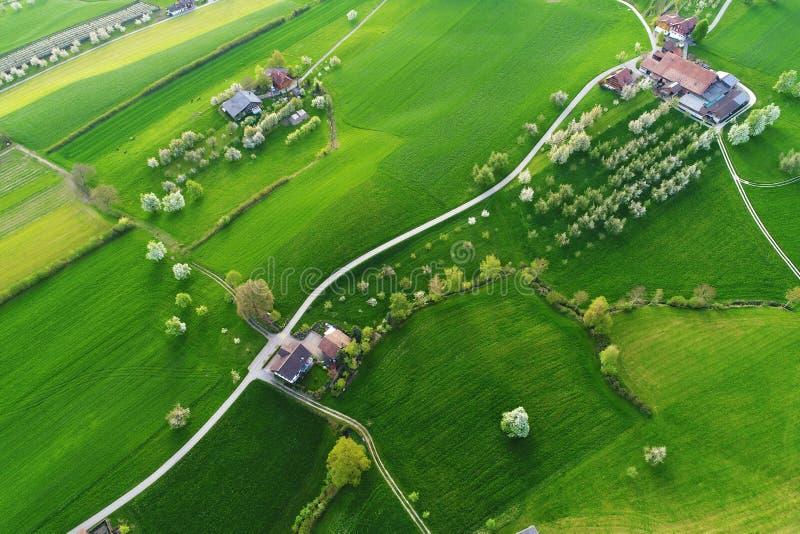 I campi verde intenso con le aziende agricole da un ` s dell'uccello osservano la vista su una mattina della molla fotografie stock