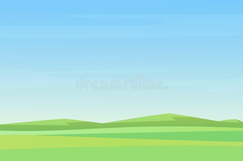 I campi vuoti semplici completamente minimalistic di verde del prato abbelliscono, grande progettazione per tutti gli scopi Vetto illustrazione di stock