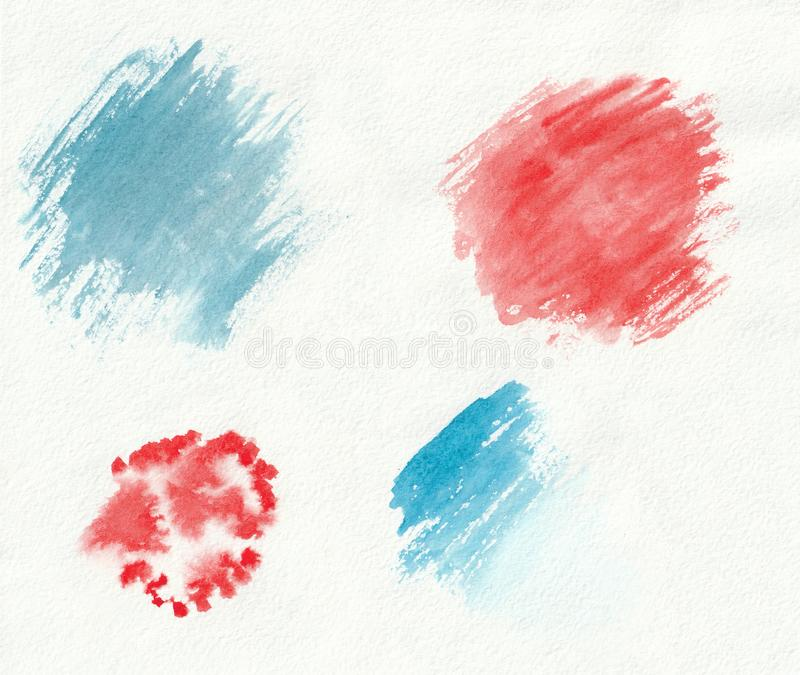 I campioni disegnati a mano di pendenza orizzontale blu e rossa dell'acquerello del pennello segna, macchie, chiazze e gocce Blu  fotografia stock libera da diritti