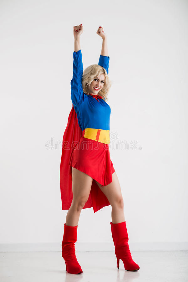 I can do everything. Portrait of joyful excited woman having superpower royalty free stock photos