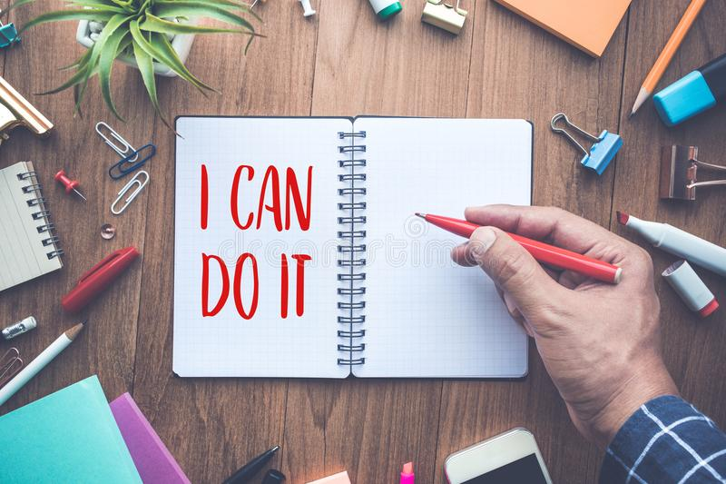 I CAN DO IT word writing on notepad and office supplies.business motivation concepts. Ideas stock images