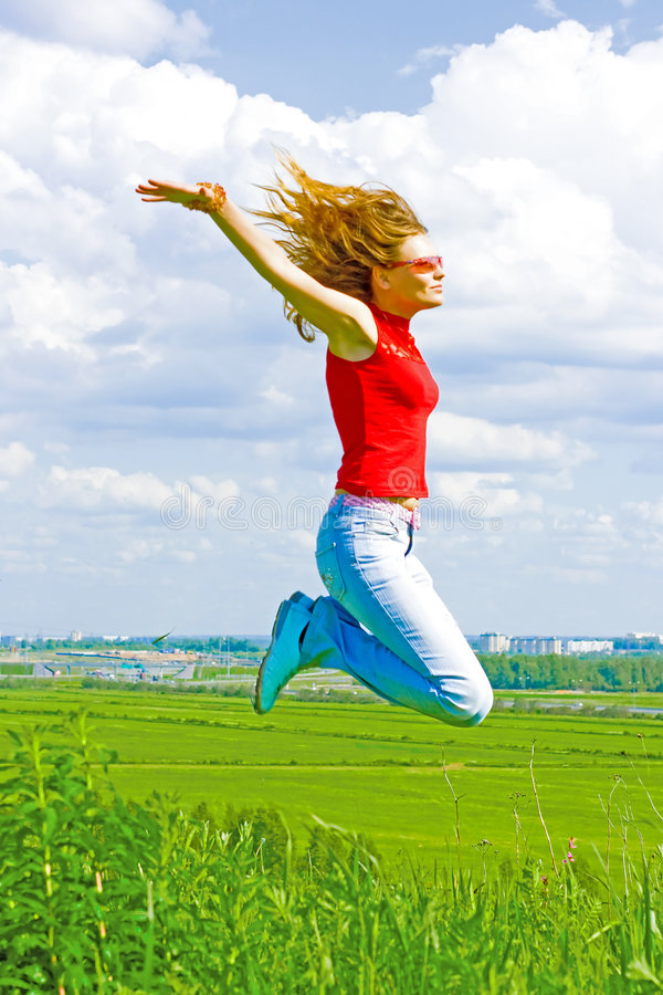 Download I can fly stock photo. Image of blue, lifestyle, girl - 5846568