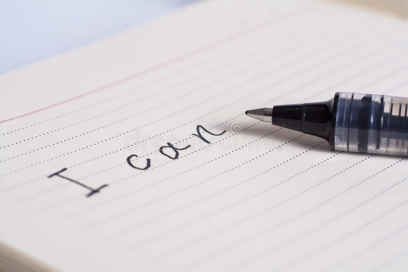 I can. Hand written on note pad with pen royalty free stock images