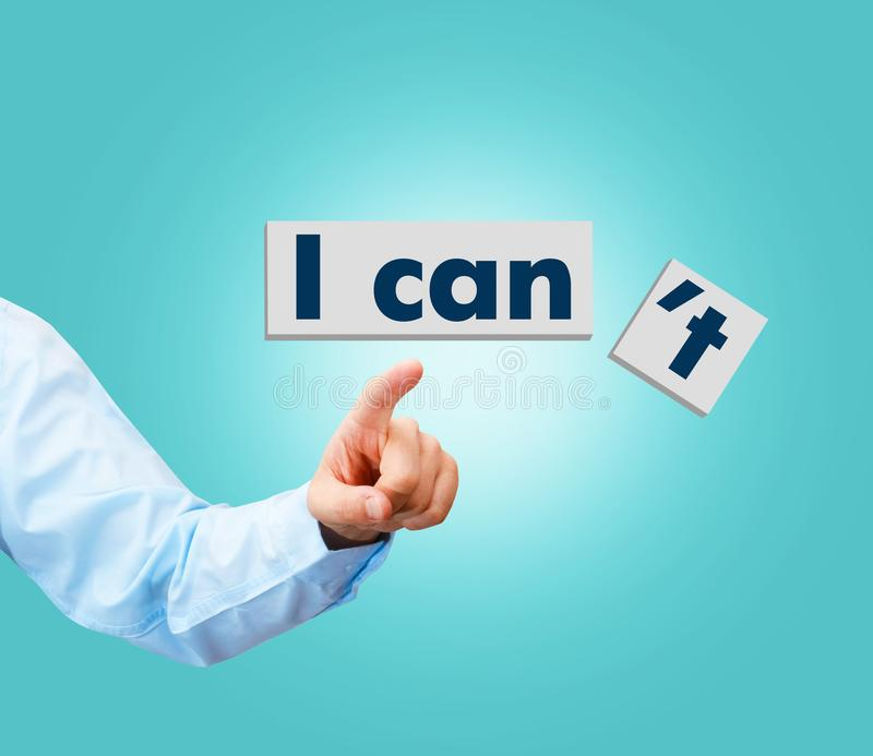 I can self motivation - cutting the letter it of the written word royalty free stock photography