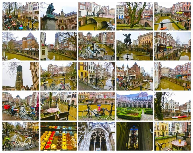 I canali e gli argini più famosi della città di Utrecht all'inverno fotografie stock libere da diritti