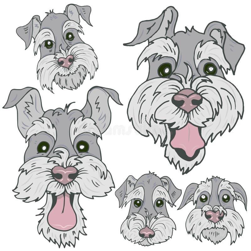 I cani della razza scozzese di Terrier affronta con differenti emozioni illustrazione di stock