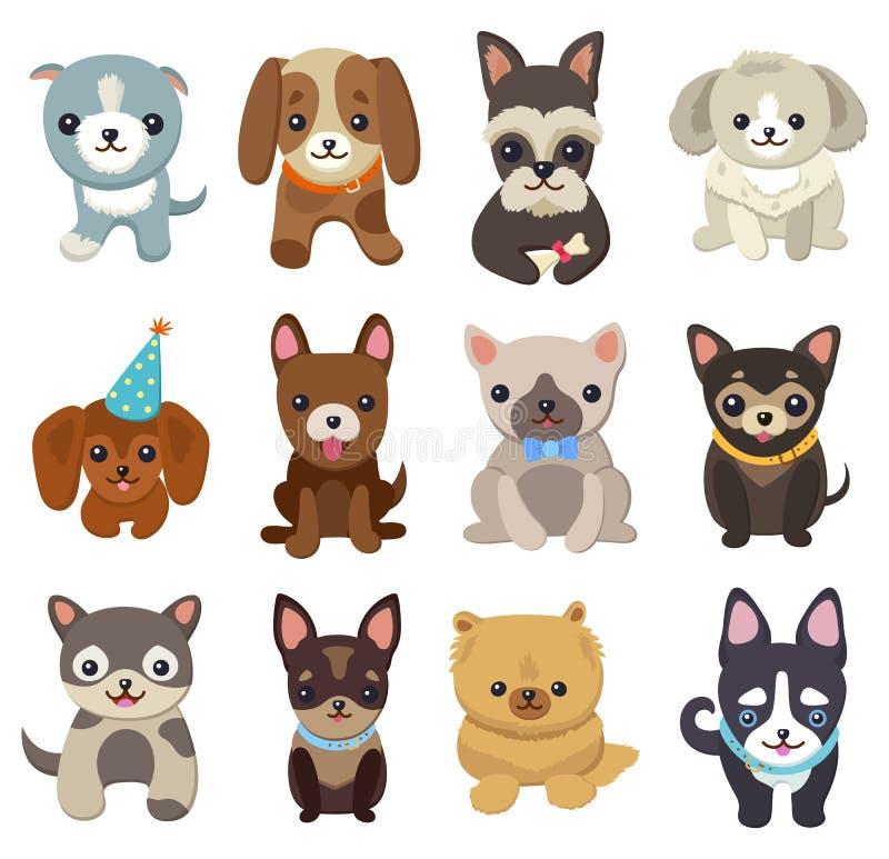 I cani ed i cuccioli hanno messo l'illustrazione di vettore del manifesto illustrazione di stock