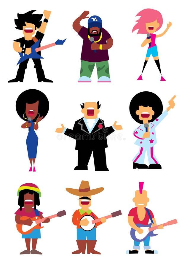 I cantanti profilano il quadro televisivo stabilito royalty illustrazione gratis