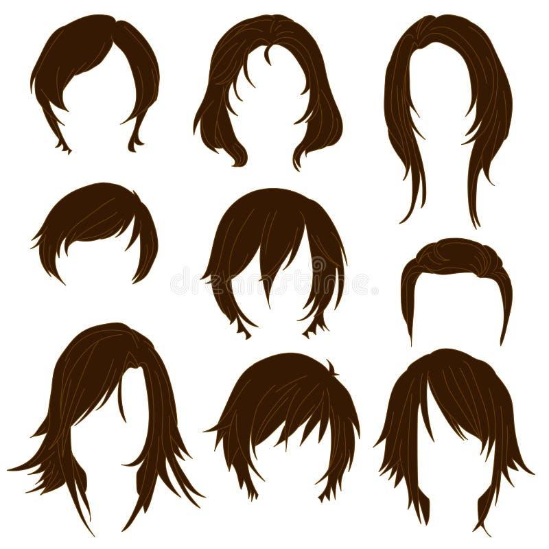 I capelli che disegnano per la donna che disegna Brown hanno messo 2 illustrazione di stock