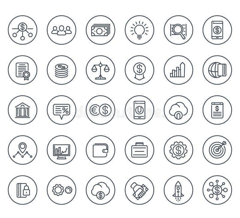 I capitali di rischio, la partenza, hedge fund allineano le icone royalty illustrazione gratis