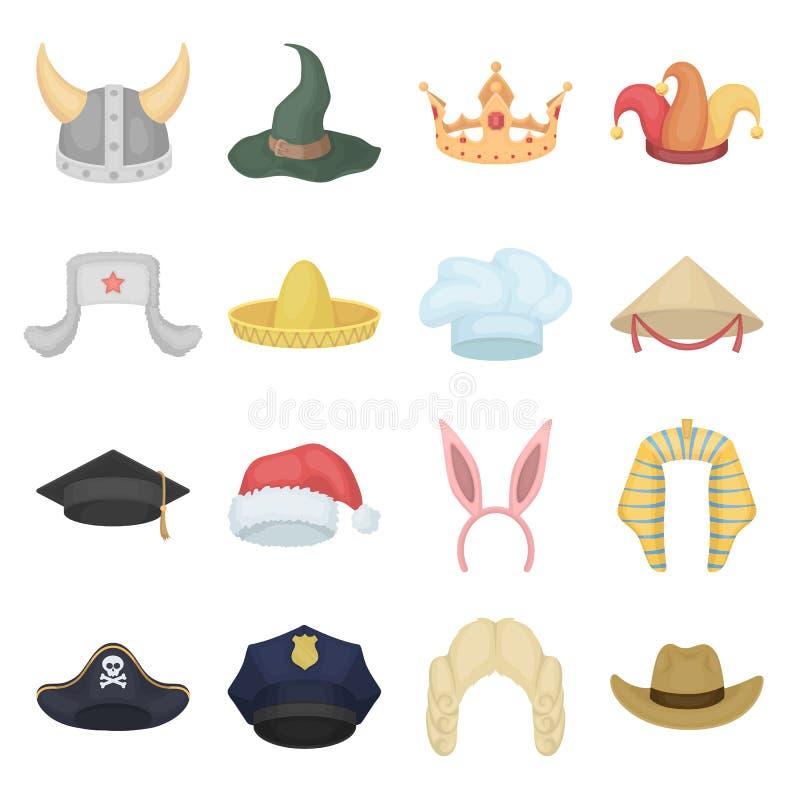 I cappelli hanno messo le icone nello stile del fumetto Grande raccolta del simbolo dell'illustrazione di vettore dei cappelli illustrazione di stock