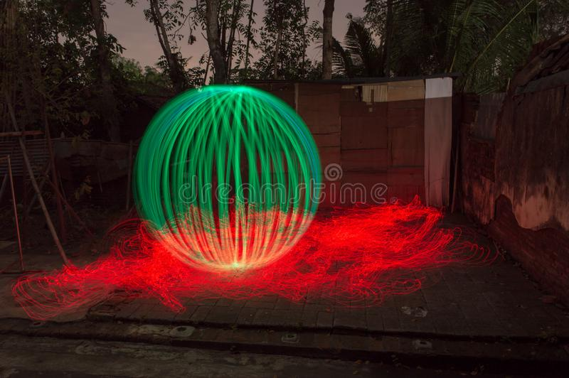 3D green ball on fire royalty free stock photo