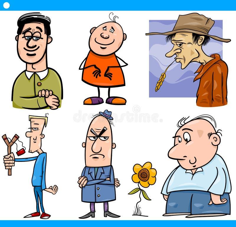 I caratteri degli uomini hanno messo l'illustrazione del fumetto illustrazione di stock