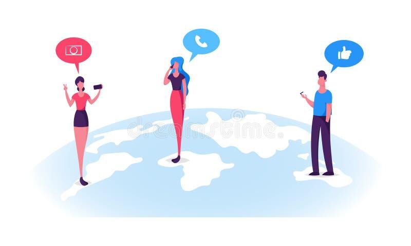 I caratteri dei giovani stanno sulla chiacchierata di superficie nelle reti sociali, chiamare del globo della terra, facente la f illustrazione vettoriale