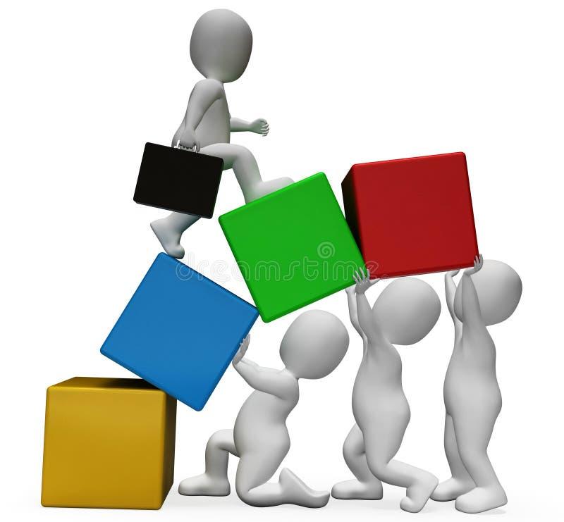 I caratteri di lavoro di squadra rappresenta l'affare Person And Advance 3d con riferimento a illustrazione di stock