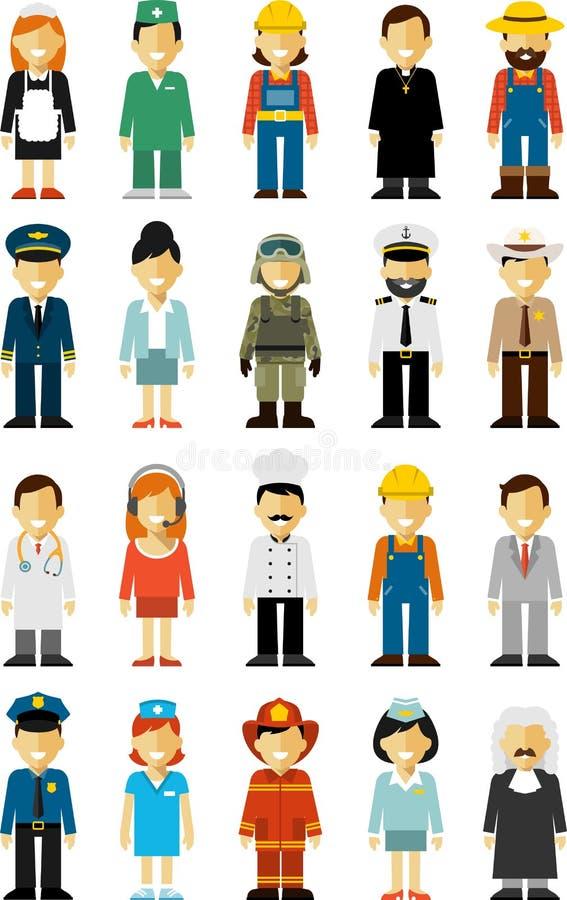 I caratteri di occupazione della gente hanno messo nello stile piano isolato su fondo bianco illustrazione di stock