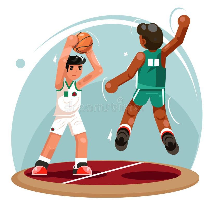 I caratteri di protezione di attacco del tiro della palla dei giocatori di pallacanestro team l'illustrazione piana di vettore di illustrazione vettoriale