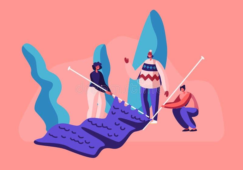 I caratteri femminili minuscoli Handcraft il concetto di hobby Le ragazze con i ferri da maglia enormi tricottano i vestiti caldi royalty illustrazione gratis