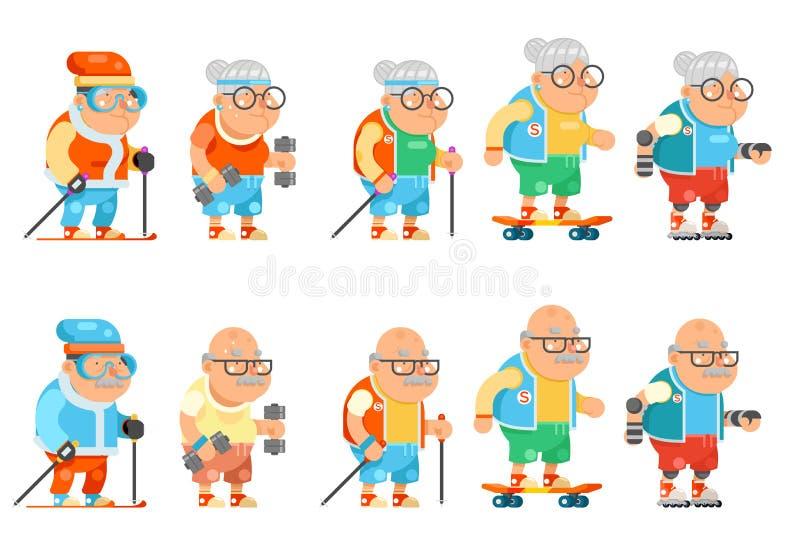 I caratteri sani adulti di prima generazione della donna dell'uomo di vecchiaia di attività della nonna di forma fisica hanno fis royalty illustrazione gratis