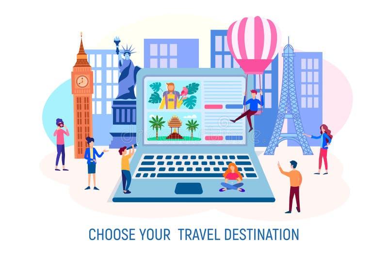 I caratteri scelgono una destinazione turistica per il viaggio in un computer portatile sui precedenti del dostoprimechatelnostey illustrazione di stock