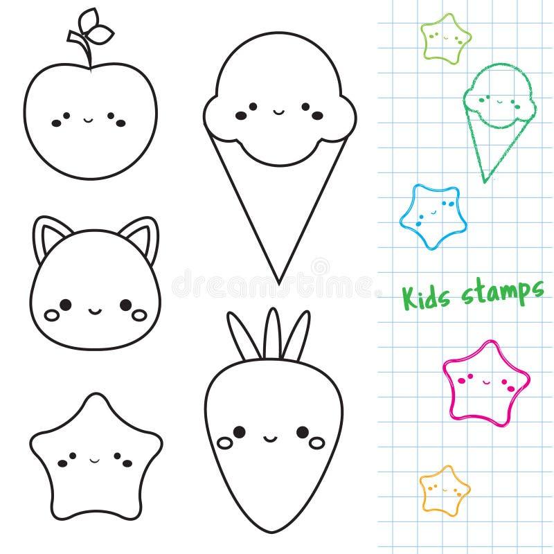 I caratteri svegli descrivono le icone bolli di kawaii per i bambini ed i bambini illustrazione vettoriale