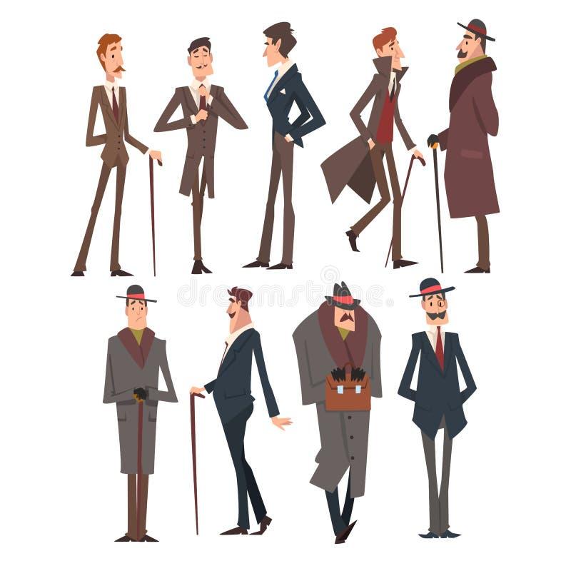 I caratteri vittoriani sicuri di sé dei signori mettono, uomini ricchi e riusciti nell'illustrazione elegante di vettore dei vest royalty illustrazione gratis