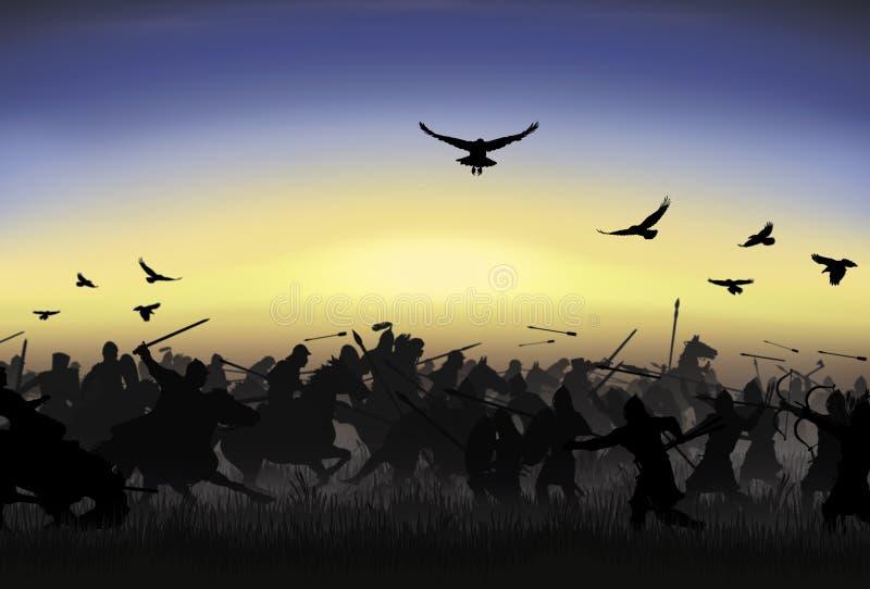 I cavalieri attaccano i guerrieri del piede fotografia stock