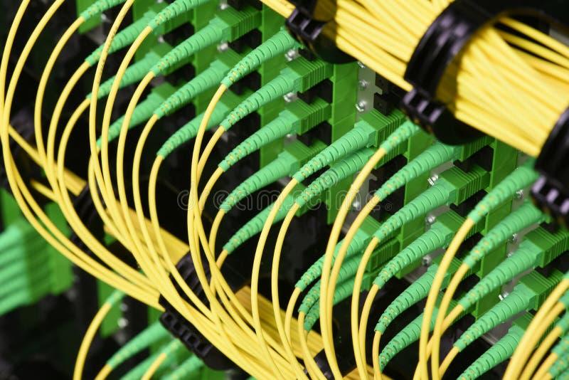 I cavi ottici della fibra con i connettori scrivono a SC-APC il singolo modo a macchina fotografia stock