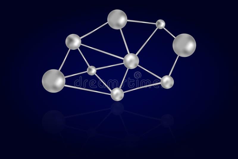 I cerchi astratti dell'acciaio 3D o del ferro si sono collegati con le linee metalliche royalty illustrazione gratis