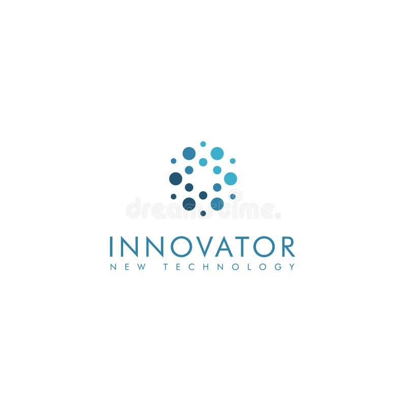 I cerchi astratti dell'innovatore modellano il gruppo, logotype alla moda di vettore di colore blu illustrazione di stock