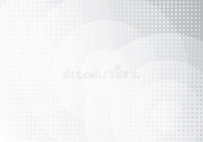 I cerchi bianchi astratti ricoprono gli strati con effetto di semitono sul fondo grigio di pendenza Potete usare per l'opuscolo d illustrazione di stock