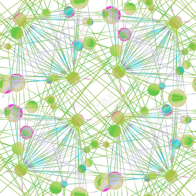 I cerchi complessi modellano verde chiaro ed il turchese su bianco relativo alle linee ricoprire royalty illustrazione gratis