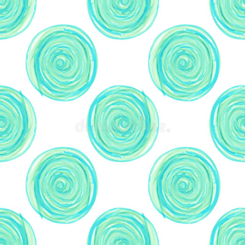 i cerchi digitali si sviluppano a spirale modello senza cuciture blu su fondo bianco illustrazione di stock