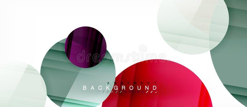 I cerchi variopinti lucidi sottraggono il fondo, progettazione geometrica moderna illustrazione vettoriale