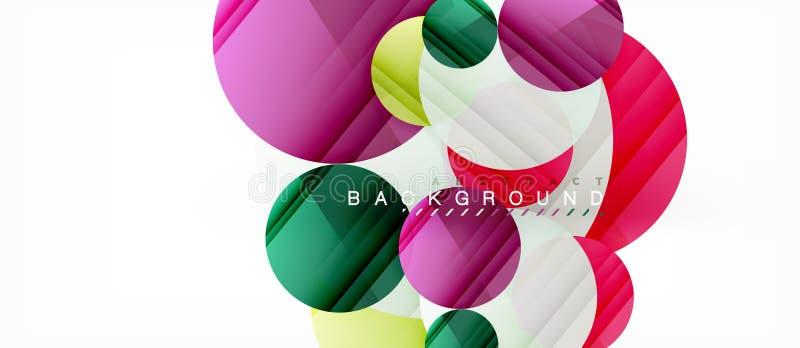 I cerchi variopinti lucidi sottraggono il fondo, progettazione geometrica moderna illustrazione di stock