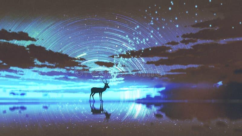 I cervi che camminano sull'acqua royalty illustrazione gratis