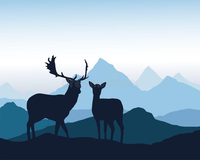 I cervi e la condizione posteriore sulla roccia in montagna abbelliscono sotto il blu illustrazione di stock
