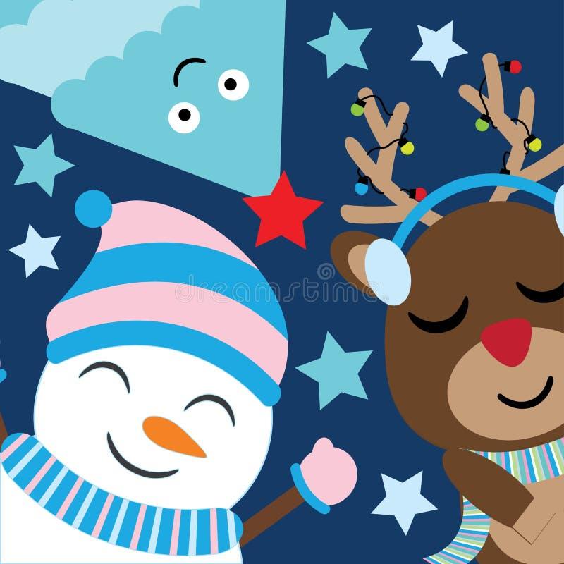I cervi, il pupazzo di neve e l'albero svegli sorridono sul fumetto blu scuro del fondo, sulla cartolina di natale, sulla carta d illustrazione di stock